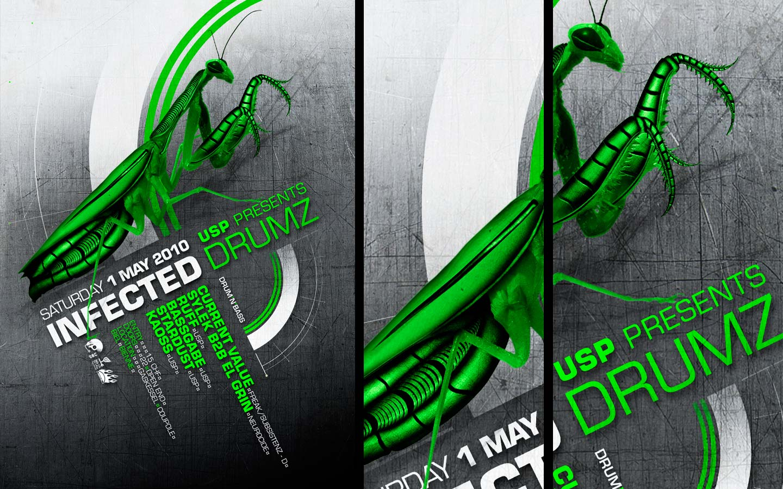 USP -Infected Drumz III - Laurent Lemoigne - Donanubis - Don Anubis - Graphic Design - Flyer - Underground Sound Promotion - Coupole - Bienne - Art - Music - Electronic - Party - Event - Flyer - Poster - Industrial - Dark - Insect - Infectious - Infected - Mechanic - Biomechanic - Biomechanik - Biomechanical - Biomechanoid - Alternative - Underground - Geneva - Switzerland - Drum and Bass - d'n'b - Hard Drum - Current Value / Freak / Subsistenz - Sylek b2b El Grin / Neurocide - Ruff - Bassgabe - Kaoss - Stardust
