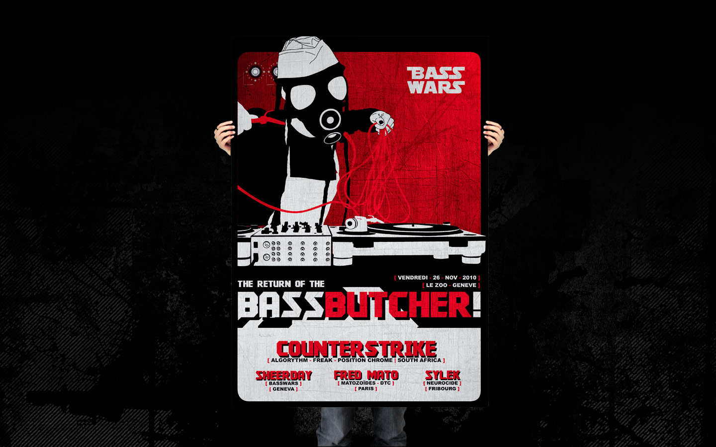 Basswars - The Return of The Bass Butcher ! - Laurent Lemoigne - Donanubis - Don Anubis - Graphic Design - Flyer - Bass Wars - Usine - Le Zoo - Geneva - Art - Music - Electronic - Party - Event - Flyer - Poster - Industrial - Factory - Dark - Gas Mask - Gasmask - Gazmask - Butcher - Turntable - Mk2 - MKII - Fetish - Alternative - Underground - Drum and Bass - d'n'b - Hard Drum - Counterstrike / Algorythm / Freak / Position Chrome - Sheerday / Basswars - Fred Mato / Matozoides / DTC - Sylex / Neurocide - Metal - Hard - Rock - Death - Band - Illustration