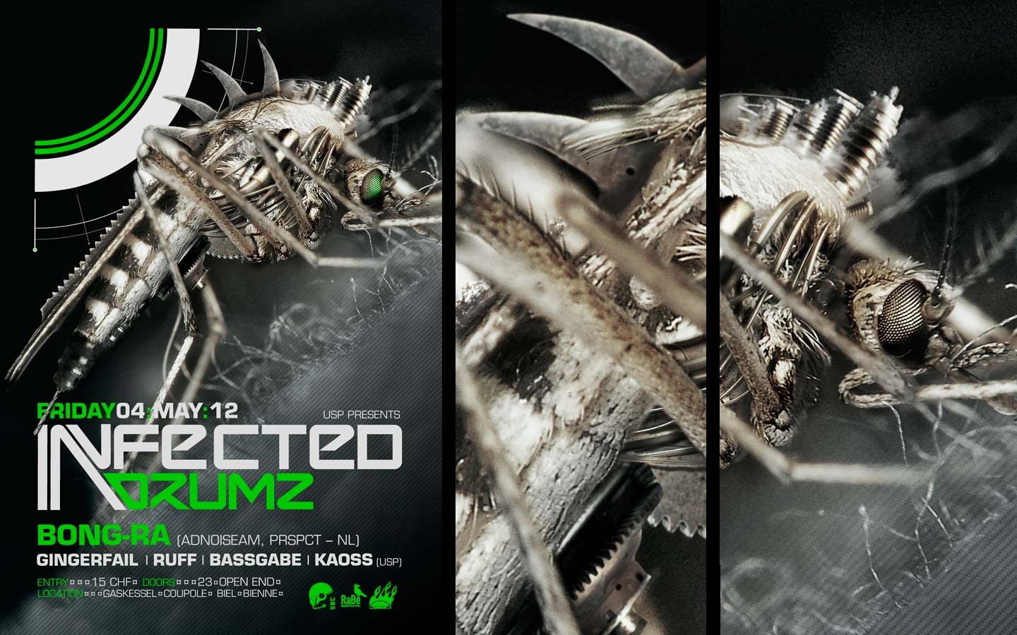 USP -Infected Drumz VII - Laurent Lemoigne - Donanubis - Don Anubis - Graphic Design - Flyer - Underground Sound Promotion - Coupole - Bienne - Art - Music - Electronic - Party - Event - Flyer - Poster - Industrial - Dark - Insect - Infectious - Infected - Mechanic - Biomechanic - Biomechanik - Biomechanical - Biomechanoid - Giger - Alternative - Underground - Geneva - Switzerland - Drum and Bass - d'n'b - Hard Drum - Bong-Ra / Adnoiseam / Prspct - Gingerfail - Ruff - Bassgabe - Kaoss - Metal - Hard - Rock - Death - Band - Illustration