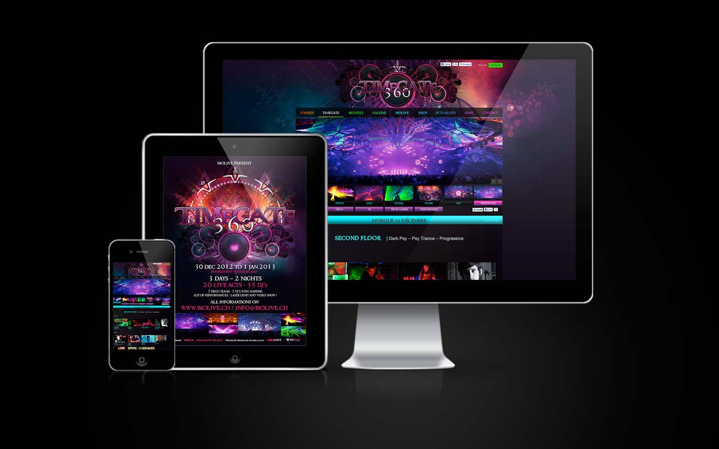 TimeGate 360 Website - WordPress - Web Design - Webdesign - Laurent Lemoigne - Donanubis - Don Anubis - Biolive - Switzerland - Psytrance - Psy - Psychedelic - Trance - Party - Festival - Event - Flyer
