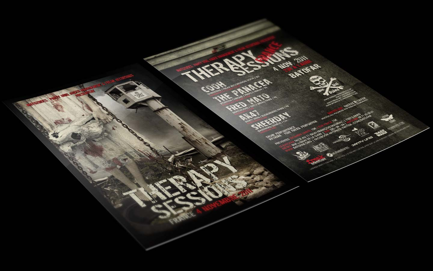 Therapy Sessions - France - Laurent Lemoigne - Donanubis - Don Anubis - Digital Art - Graphic Design - Flyer - Matozoides - Party Uniq - Anger Management - Freak Recordings - Batofar - Paris - Art - Music - Electronic - Party - Event - Flyer - Poster - Industrial - Dark - Skull - Consanguinity - Wrong Turn - Chainsaw Massacre - Freak - Family - Skin - Flesh - Psychatric - Psychotic - Canibal - Alternative - Underground - Geneva - Switzerland - Drum and Bass - d'n'b - Hard Drum - Hardcore - Crossbreed - Cooh / Subsistenz / Freak Recordings - The Panacea / Position Chrome / Prspct - Fred Mato / Matozoides / dtc / 4real - Ak47 / PArty Uniq / Budburnerz - Sheerday / Basswars - Metal - Hard - Rock - Death - Band - Illustration