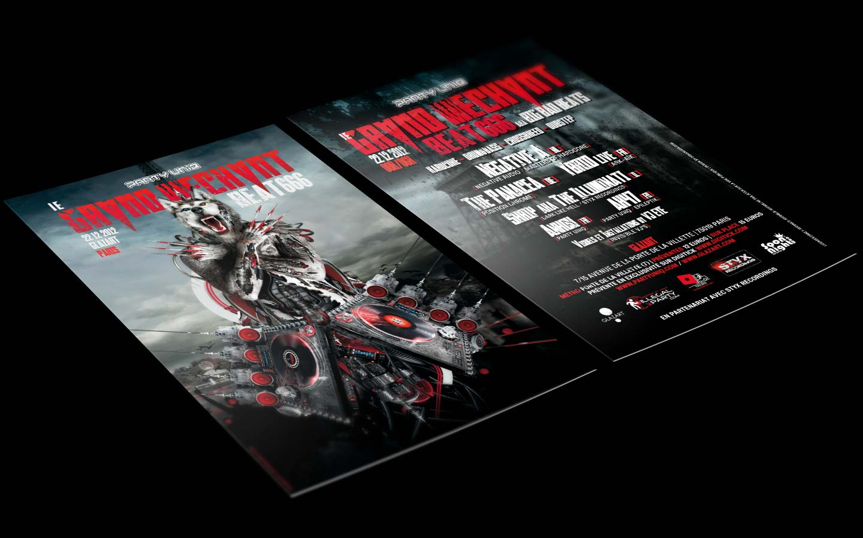 Le Grand Mechant Beat #6 - Laurent Lemoigne - Donanubis - Don Anubis - Graphic Design - Flyer - Party Uniq - Glazart - Paris - Art - Music - Electronic - Party - Event - Flyer - Poster - Biomechanic - Biomechanik - Biomechanical - Biomechanoid - Man - Machine - Factory - Giger - Industrial - Dark - Wareworf - Alternative - Underground - Geneva - Switzerland - Drum and Bass - d'n'b - Hard Drum - Hardcore - Crossbreed - Negative A / Negative Audio / Masters of Hardcore - The Panacea / Position Chrome - Ybrid Live / Ark-Aïk / Skrip aka The Illuminati / Dark Like Hell / Styx Recordings - Ankou / Party Uniq - AK47 / Party Uniq / Epileptik