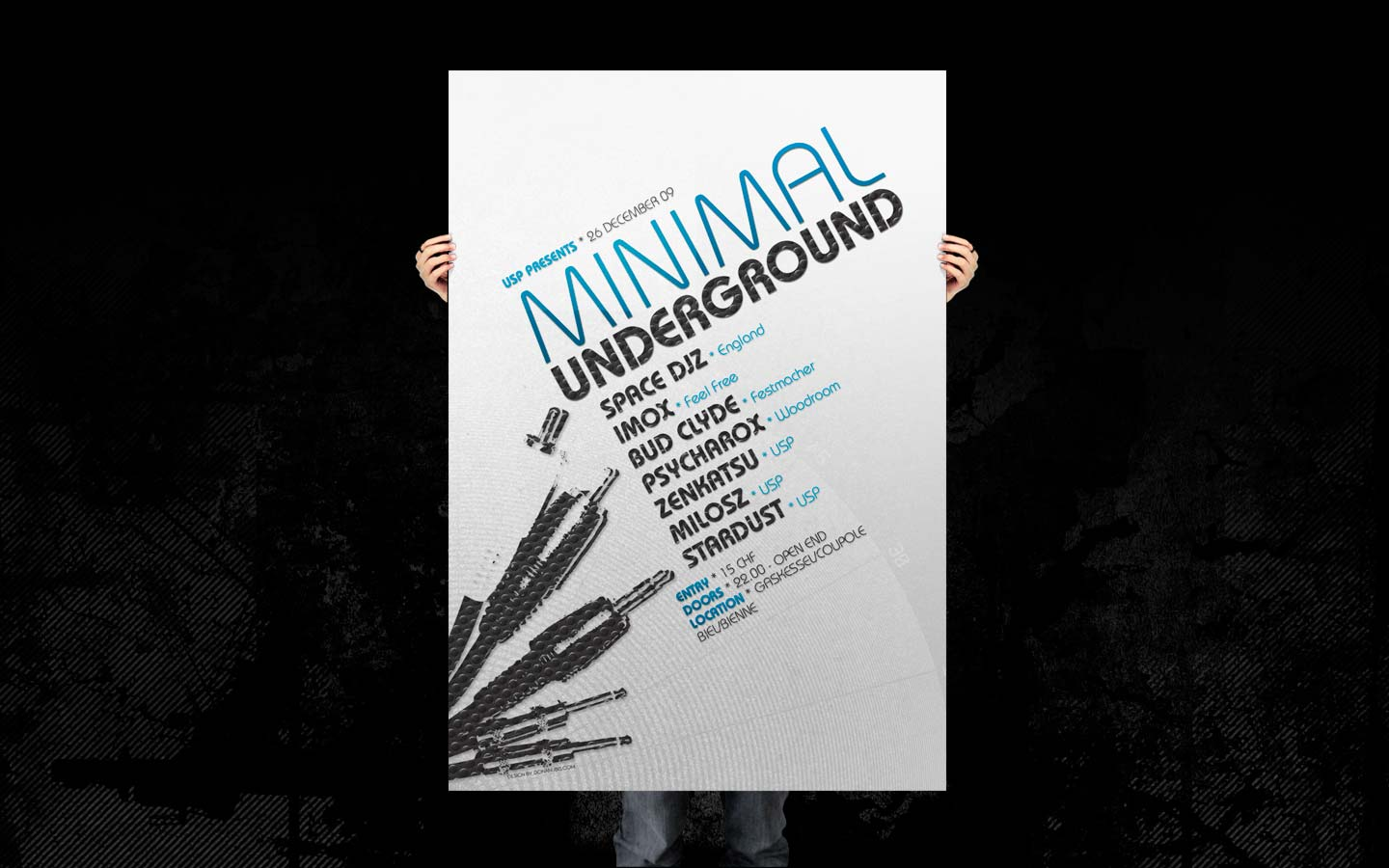 USP - Minimal Underground II - Laurent Lemoigne - Donanubis - Don Anubis - Graphic Design - Underground Sound Promotion - Coupole - Bienne - Art - Music - Electronic - Party - Event - Flyer - Poster - Techno - Minimal - Electro - Alternative - Underground - Geneva - Switzerland - Space DJZ - Imox / Feel Free - Bud Clyde / Festmacher - Psycharox / Woodroom - Zenkatsu - Milosz - Stardust