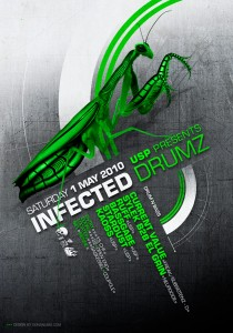 USP -Infected Drumz III - Laurent Lemoigne - Donanubis - Don Anubis - Graphic Design - Flyer - Underground Sound Promotion - Coupole - Bienne - Art - Music - Electronic - Party - Event - Flyer - Poster - Industrial - Dark - Insect - Infectious - Infected - Mechanic - Biomechanic - Biomechanik - Biomechanical - Alternative - Underground - Geneva - Switzerland - Drum and Bass - d'n'b - Hard Drum - Current Value / Freak / Subsistenz - Sylek b2b El Grin / Neurocide - Ruff - Bassgabe - Kaoss - Stardust