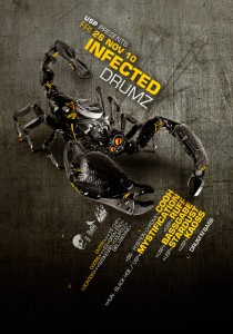 USP -Infected Drumz IV - Laurent Lemoigne - Donanubis - Don Anubis - Graphic Design - Flyer - Underground Sound Promotion - Coupole - Bienne - Art - Music - Electronic - Party - Event - Flyer - Poster - Industrial - Dark - Insect - Infectious - Infected - Mechanic - Biomechanic - Biomechanik - Biomechanical - Giger - Alternative - Underground - Geneva - Switzerland - Drum and Bass - d'n'b - Hard Drum - Cooh / Position Chrome - Mystification / Black Hoe - Ruff - Bassgabe - Kaoss - Stardust
