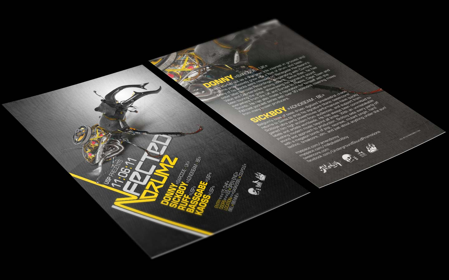 USP -Infected Drumz V - Laurent Lemoigne - Donanubis - Don Anubis - Graphic Design - Flyer - Underground Sound Promotion - Coupole - Bienne - Art - Music - Electronic - Party - Event - Flyer - Poster - Industrial - Dark - Insect - Infectious - Infected - Mechanic - Biomechanic - Biomechanik - Biomechanical - Biomechanoid - - Giger - Alternative - Underground - Geneva - Switzerland - Drum and Bass - d'n'b - Hard Drum - Donny / BArcode - Sickboy / Adnoiseeam - Ruff - Bassgabe - Kaoss - Metal - Hard - Rock - Death - Band - Illustration