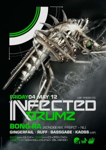 USP -Infected Drumz VII - Laurent Lemoigne - Donanubis - Don Anubis - Graphic Design - Flyer - Underground Sound Promotion - Coupole - Bienne - Art - Music - Electronic - Party - Event - Flyer - Poster - Industrial - Dark - Insect - Infectious - Infected - Mechanic - Biomechanic - Biomechanik - Biomechanical - Giger - Alternative - Underground - Geneva - Switzerland - Drum and Bass - d'n'b - Hard Drum - Bong-Ra / Adnoiseam / Prspct - Gingerfail - Ruff - Bassgabe - Kaoss