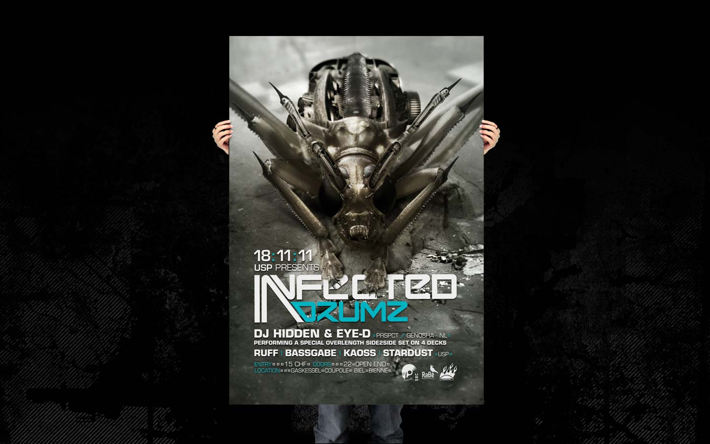 USP - Infected Drumz VI - Laurent Lemoigne - Donanubis - Don Anubis - Graphic Design - Flyer - Underground Sound Promotion - Coupole - Bienne - Art - Music - Electronic - Party - Event - Flyer - Poster - Industrial - Dark - Insect - Infectious - Infected - Mechanic - Biomechanic - Biomechanik - Biomechanical - Biomechanoid - Giger - Alternative - Underground - Geneva - Switzerland - Drum and Bass - d'n'b - Hard Drum - Dj Hidden & Eye-d / Prspct / Genosha - Ruff - Bassgabe - Kaoss - Stardust - Metal - Hard - Rock - Death - Band - Illustration