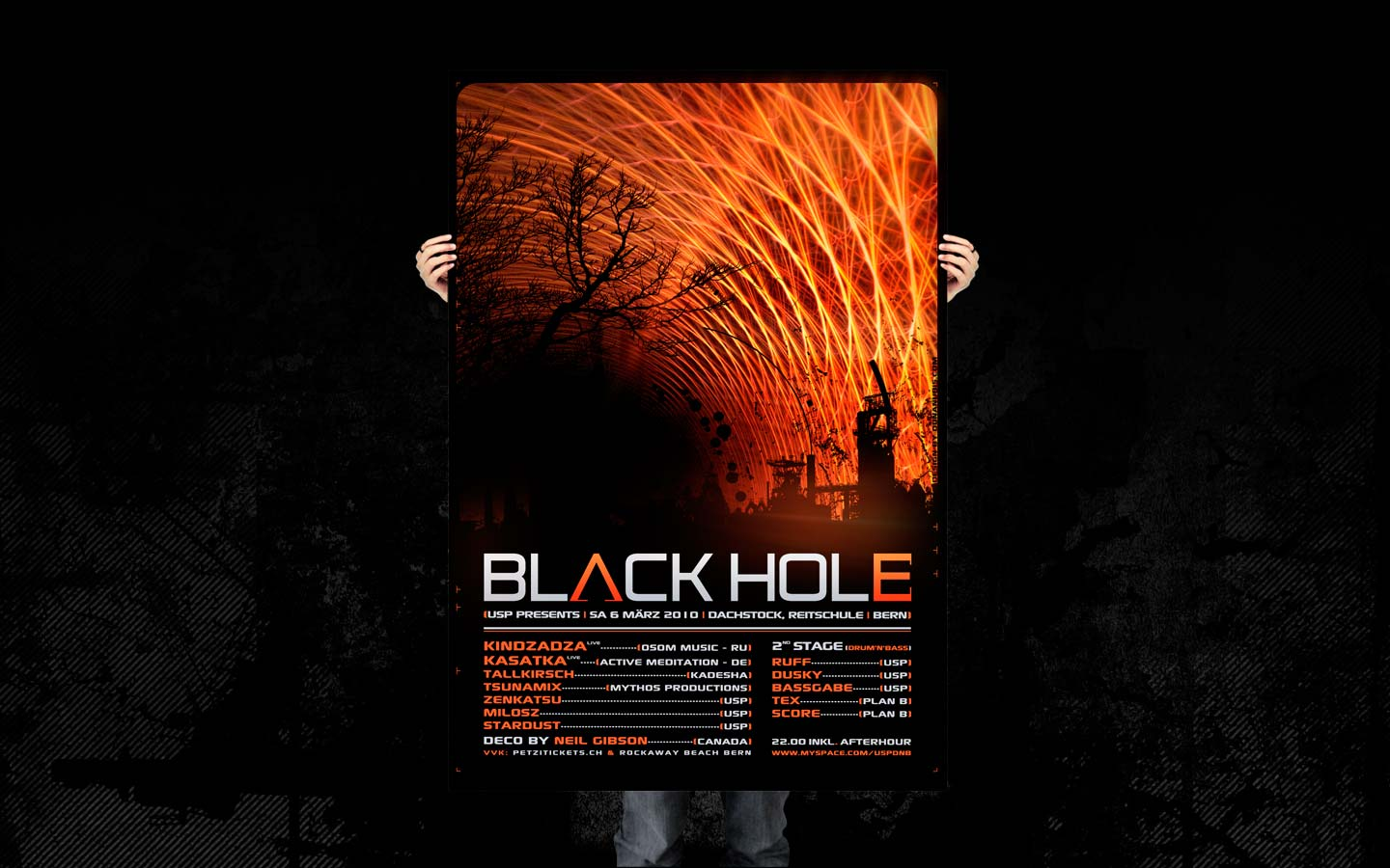 USP - Black Hole - Laurent Lemoigne - Donanubis - Don Anubis - Graphic Design - Underground Sound Promotion - Dachstock - Reitschule - Bern - Art - Music - Electronic - Party - Event - Flyer - Poster Alternative - Underground - Geneva - Switzerland - Dark Psytrance - Darkpsy - Trance - Fractal - 3d - Psychedelic - LSD - Hoffman - Drum and Bass - DNB - Industrial - Kindzadza / Osom Music - Kasatka / Active Meditation - Tallkirsch / Kadesha - Tsunamix / Mythos Production - Milosz - Stardust - Zenkatsu - Ruff - Dusky - Bassgabe - Tex / Plan B - Score / Plan B