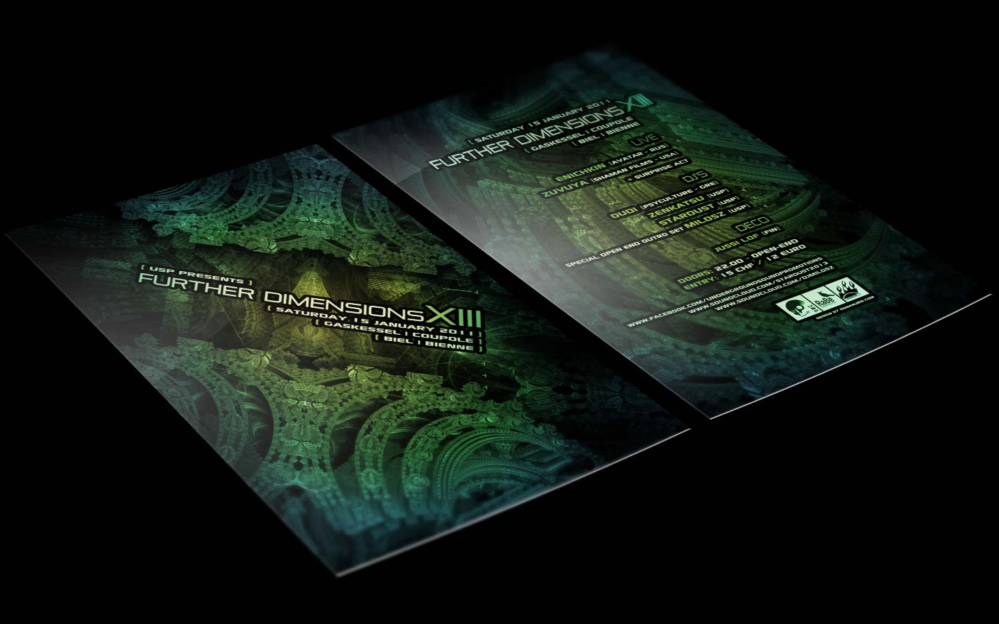 USP - Further Dimensions XIII - Laurent Lemoigne - Donanubis - Don Anubis - Graphic Design - Underground Sound Promotion - Coupole - Bienne - Art - Music - Electronic - Party - Event - Flyer - Poster Alternative - Underground - Geneva - Switzerland - Dark Psytrance - Darkpsy - Trance - Fractal - 3d - Psychedelic - LSD - Hoffman - Enichkin / Avatar - Zuvuya / Shaman Films - Quidi / Psycultire - Milosz - Stardust - Zenkatsu