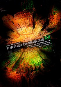 USP - Further Dimensions XII - Laurent Lemoigne - Donanubis - Don Anubis - Graphic Design - Underground Sound Promotion - Coupole - Bienne - Art - Music - Electronic - Party - Event - Flyer - Poster Alternative - Underground - Geneva - Switzerland - Dark Psytrance - Darkpsy - Trance - Fractal - 3d - Psychedelic - LSD - Hoffman - Para Halu / Psylife Music - Insector / Biomechanikal Records - Larox - Milosz - Stardust - Zenkatsu