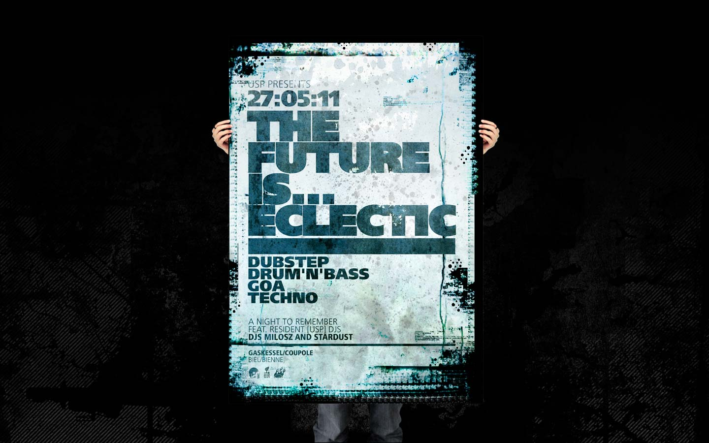 USP - Future Is Eclectic - Laurent Lemoigne - Donanubis - Don Anubis - Graphic Design - Underground Sound Promotion - Coupole - Bienne - Art - Music - Electronic - Party - Event - Flyer - Poster Alternative - Underground - Geneva - Switzerland - Dark Psytrance - Darkpsy - Trance - Drum and Bass - DNB - Industrial - Techno