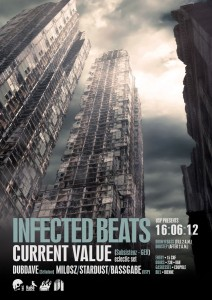 USP -Infected Beats II - Laurent Lemoigne - Donanubis - Don Anubis - Graphic Design - Underground Sound Promotion - Coupole - Bienne - Art - Music - Electronic - Party - Event - Flyer - Poster - Industrial - Dark - Apocalypse - Destroy - I am a Legend - Doomsday - Alternative - Underground - Geneva - Switzerland - Drum and Bass - Dubstep - Current Value / Subsistenz - Dubdave - Milosz - Bassgabe - Stardust