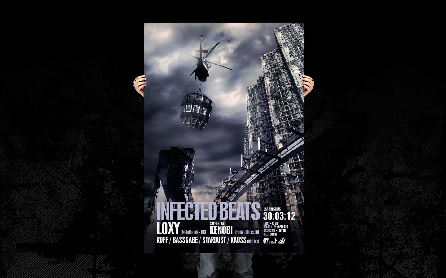 USP -Infected Beats I Poster - Laurent Lemoigne - Donanubis - Don Anubis - Graphic Design - Underground Sound Promotion - Coupole - Bienne - Art - Music - Electronic - Party - Event - Flyer - Poster - Industrial - Dark - Apocalypse - Destroy - I am a Legend - Doomsday - Alternative - Underground - Geneva - Switzerland - Drum and Bass - Dubstep - Loxy / Metalheadz - Kenobi - Ruff - Bassgabe - Stardust - Kaoss - Metal - Hard - Rock - Death - Band - Illustration