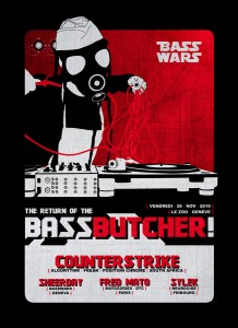 Basswars - The Return of The Bass Butcher ! - Laurent Lemoigne - Donanubis - Don Anubis - Graphic Design - Flyer - Bass Wars - Usine - Le Zoo - Geneva - Art - Music - Electronic - Party - Event - Flyer - Poster - Industrial - Factory - Dark - Gas Mask - Gasmask - Gazmask - Butcher - Turntable - Mk2 - MKII - Fetish - Alternative - Underground - Drum and Bass - d'n'b - Hard Drum - Counterstrike / Algorythm / Freak / Position Chrome - Sheerday / Basswars - Fred Mato / Matozoides / DTC - Sylex / Neurocide