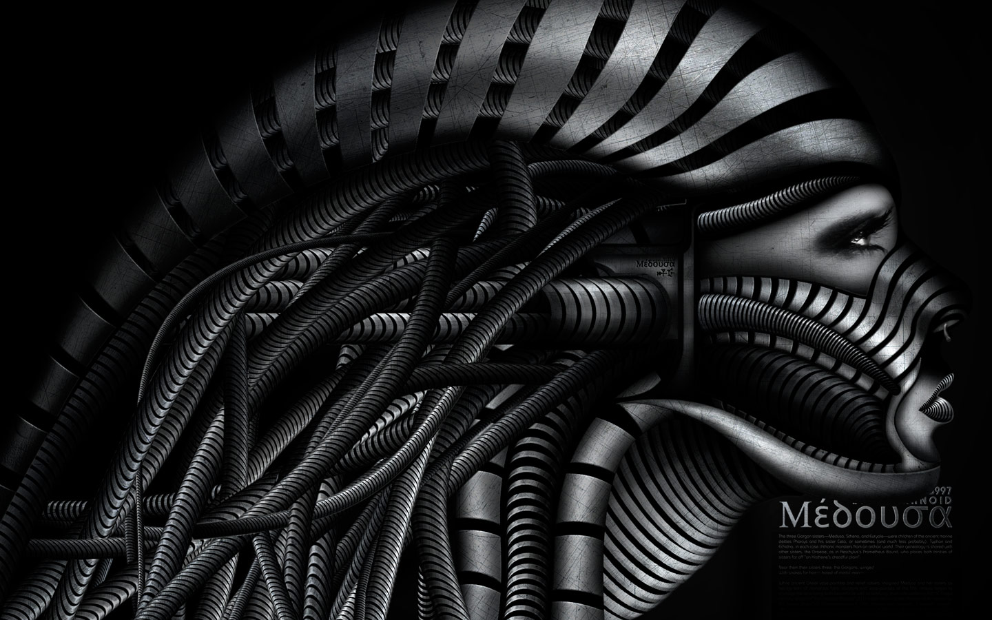 Biomechanoid Medusa - Laurent Lemoigne - Donanubis - Don Anubis - Graphic Art - Digital Art - Geneva - Switzerland - Surreal - Conceptual -People - Dark - Fantasy - Beauty - Woman - Steel - Metal - Snake - Medusa - Gorgon - Mythology - Mechanic - Biomechanic - Biomechanik - Biomechanical - Biomechanoid - Giger - Metal - Hard - Rock - Death - Band - Illustration