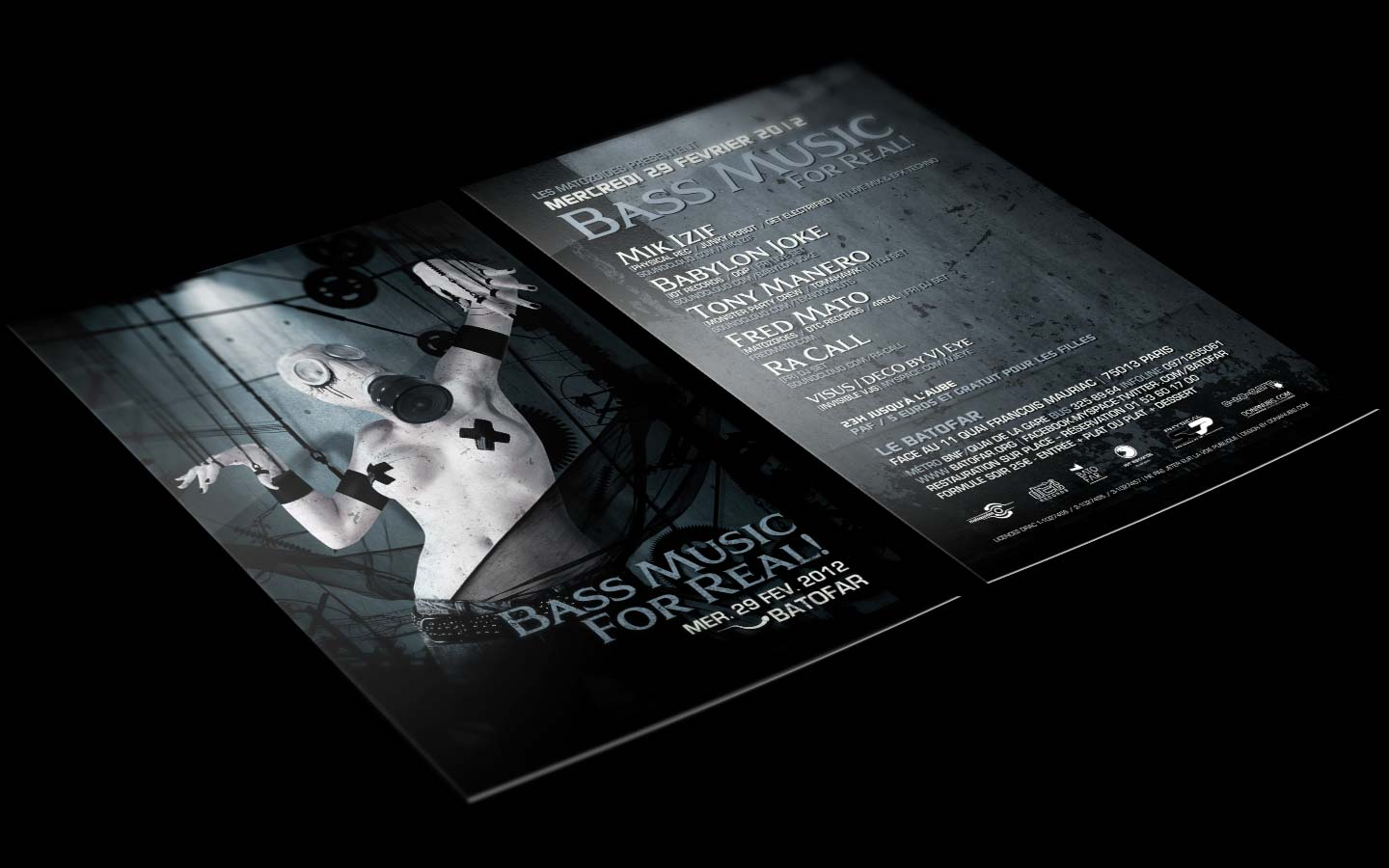 Puppet Master / Bass Music For Real - Laurent Lemoigne - Donanubis - Don Anubis - Digital Art - Graphic Design - Flyer - Matozoides - Batofar - Paris - Art - Music - Electronic - Party - Event - Flyer - Poster - Industrial - Dark - Gazmask - Gas Mask - Fetish - Puppet - Nipple Tassles - Woman - Beautiful - Wheel - Cogwheel - Factory - Alternative - Underground - Geneva - Switzerland - Drum and Bass - d'n'b - Hard Drum - Techno - Mik Izif / Physical Rec / Junky Robot / Get Electrified - Babylon Joke / IOT Records / OQP - Tony Manero / Monster Party Crew / Tomahawk - Fred Mato / Matozoides / DTC Records / 4real - Ra Call - Metal - Hard - Rock - Death - Band - Illustration