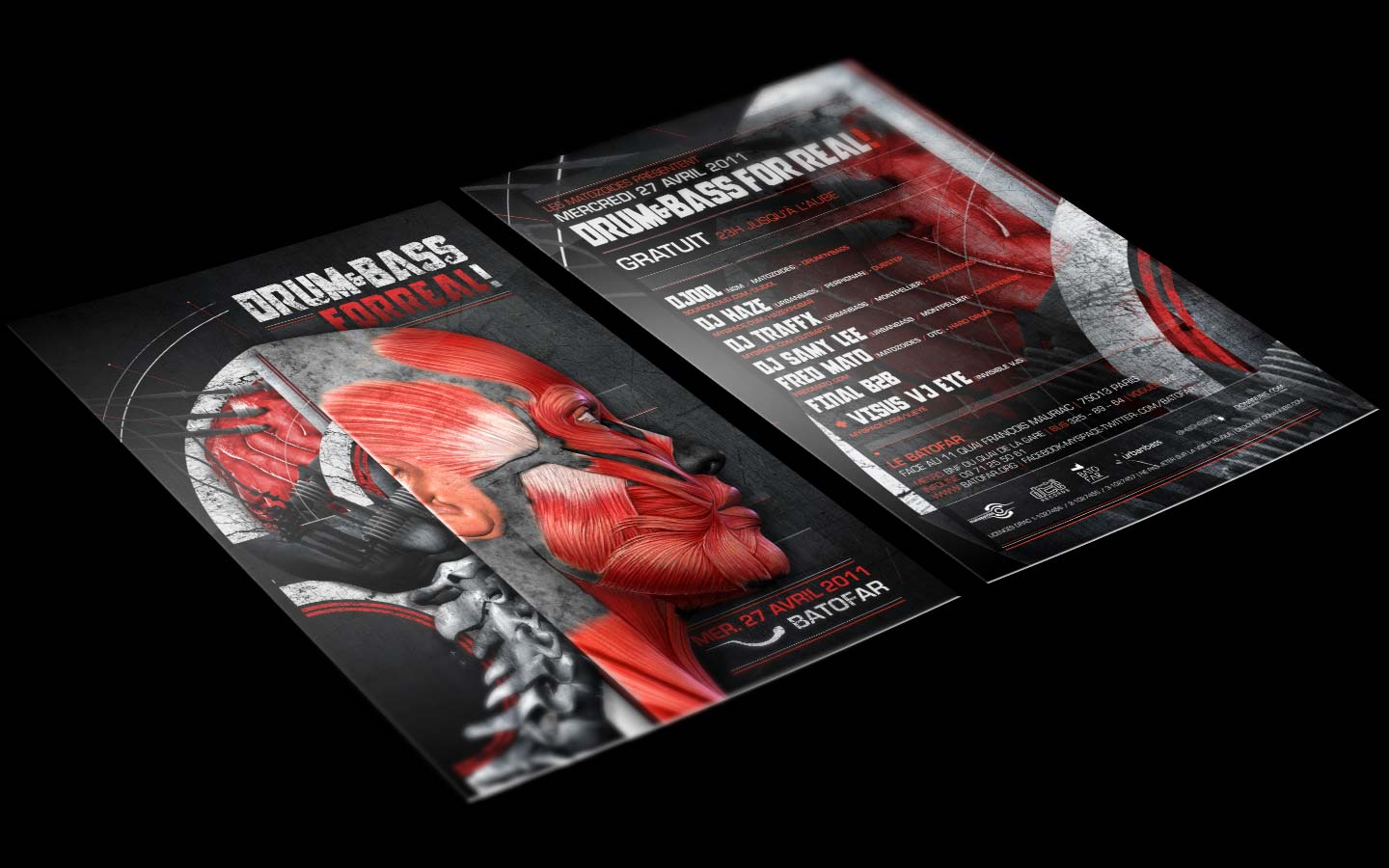Drum And Bass For Real - Laurent Lemoigne - Donanubis - Don Anubis - Graphic Design - Flyer - Matozoides - Batofar - Paris - Art - Music - Electronic - Party - Event - Flyer - Poster - Industrial - Dark - Brain - Electric - Biomechanic - Biomechanik - Biomechanical - Flesh - Muscle - Anatomy - Bone - Backbone - Alternative - Underground - Geneva - Switzerland - Drum and Bass - d'n'b - Dubstep - Hard Drum - Djool / NSM - Dj Haze / Urbanbass - Dj Traffx / Urbanbass - Dj Samy Lee / Urbanbass - Fred Mato / Matozoides / DTC Records / 4real - Metal - Hard - Rock - Death - Band - Illustration