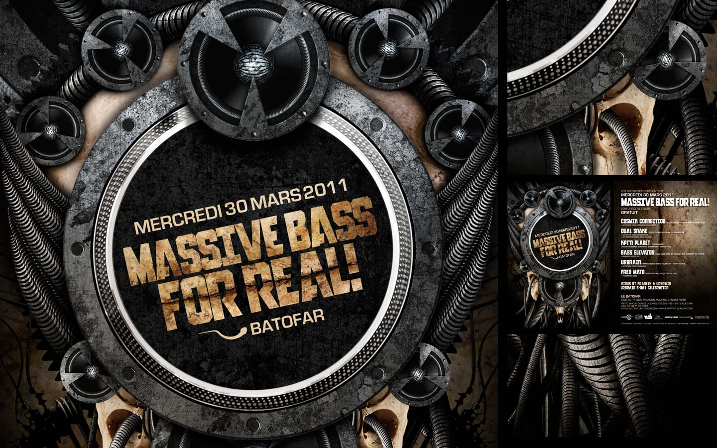 Massive Bass For Real - Laurent Lemoigne - Donanubis - Don Anubis - Graphic Design - Flyer - Matozoides - Batofar - Paris - Art - Music - Electronic - Party - Event - Flyer - Poster - Industrial - Dark - Speaker - Turntable - Mk2 - Bass - Electric - Factory - Skull - Bones - Biomechanic - Biomechanik - Biomechanical - Biomechanoid - Giger - Deviantart - Daily Deviation - DD - Alternative - Underground - Geneva - Switzerland - Drum and Bass - d'n'b - Dubstep - Hard Drum - Cosmik Connection / Ultra Indé - Dual Snake / DTC - KPT'N Planet / Ultra Indé - Bass Elevator - Urbrain / Matozoides / DTC - Fred Mato / Matozoides / DTC Records / 4real - Metal - Hard - Rock - Death - Band - Illustration