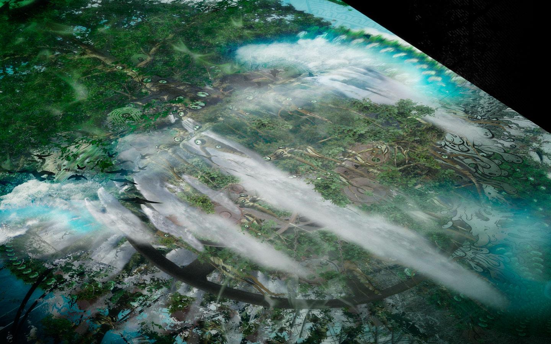 Teratone - Visionary Art Collective - Laurent Lemoigne - Donanubis - Don Anubis - Digital Art - Graphic Art - Print On Canvas - Geneva - Switzerland - Art - Music - Electronic - Party - Event - Floating Island - Waterfall - Tree - Speaker - Decay - Time - Elapsed - Fractal - Psychedelic - Hallucinogen - Avatar - Alternative - Underground - Surreal - Conceptual - Poetry - Fantasy