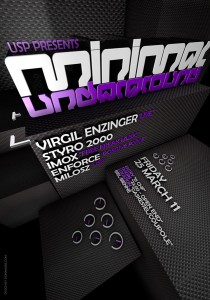 USP -Infected Drumz IV - Laurent Lemoigne - Donanubis - Don Anubis - Graphic Design - Underground Sound Promotion - Coupole - Bienne - Art - Music - Electronic - Party - Event - Flyer - Poster - Techno - Minimal - Electro - Alternative - Underground - Geneva - Switzerland - Virgil Enzinger - Styro 2000 - Imox / Feel Freak Music - Enforce / Positive Force - Milosz
