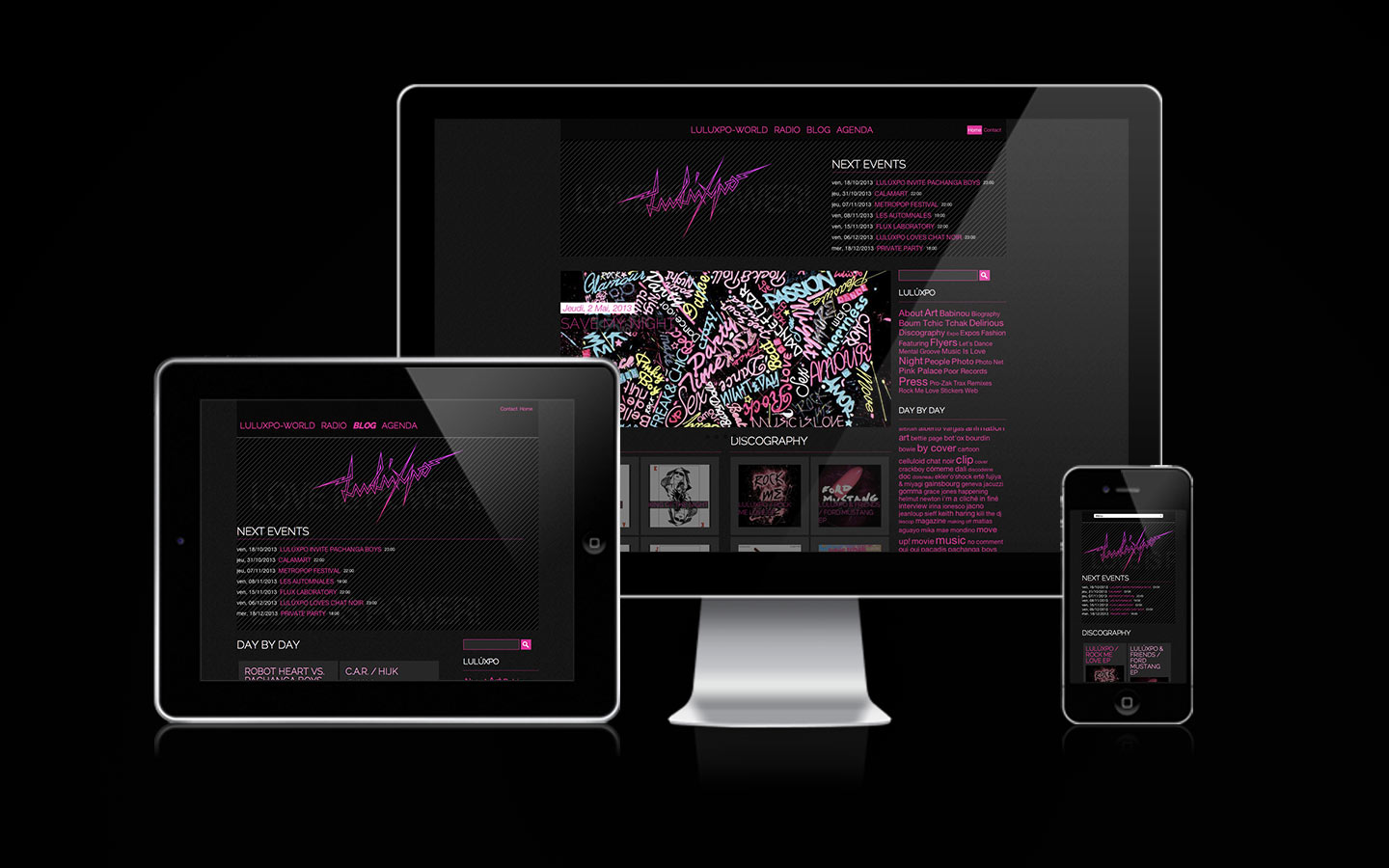 LuLúxpo Website - Laurent Lemoigne - Donanubis - Don Anubis - Graphic Design - Web Design - Webdesign - Drupal - Responsive - Love is Power - Geneva - Switzerland - Electro - Pink - Glamour -  - Art - Music - Party - Festival - Event