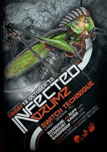 USP -Infected Drumz VIII - Laurent Lemoigne - Donanubis - Don Anubis - Graphic Design - Flyer - Underground Sound Promotion - Coupole - Bienne - Art - Music - Electronic - Party - Event - Flyer - Poster - Industrial - Dark - Insect - Infectious - Infected - Mechanic - Biomechanic - Biomechanik - Biomechanical - Giger - Alternative - Underground - Geneva - Switzerland - Drum and Bass - d'n'b - Hard Drum - Switch Technique / Union / Genosha - Ruff - Bassgabe - Stardust - Kaoss - Bassproof